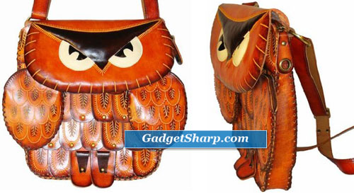 Genuine Leather Messenger Shoulder Bag, an Owl Design