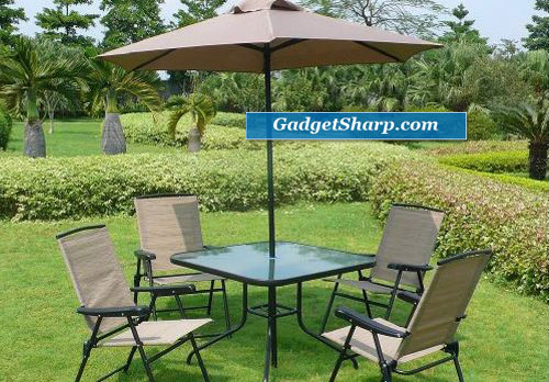 Outdoor Patio Home Bromley Tan 6Pc Folding Dining Set