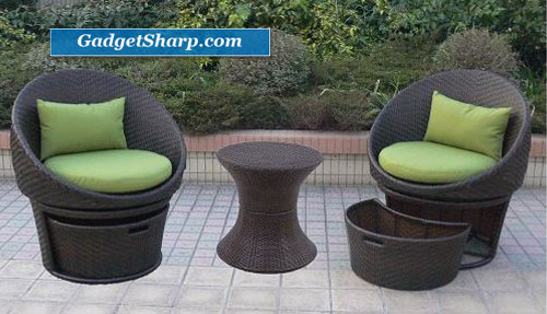 Outdoor Patio Lowrey Wicker Swivel 5-pc