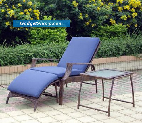 Outdoor Patio 3-pc. Caribbean Blue Chaise Lounge Set