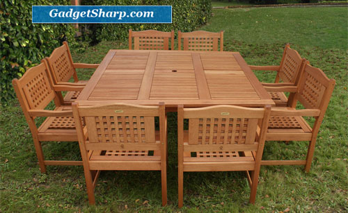 Outdoor Patio Set - Milano Square Table 9-Piece Set Deluxe