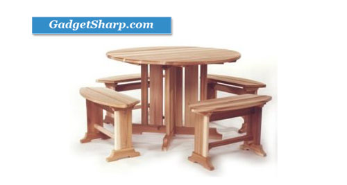 5pcs Outdoor Patio Wood Round Picnic Table & Benches Set
