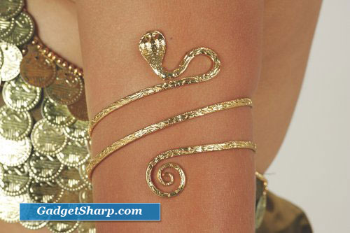 Gold Tone Upper Arm Snake Bracelet