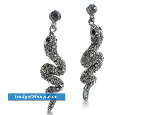 Trendy Gray Rhinestone Snake Earrings