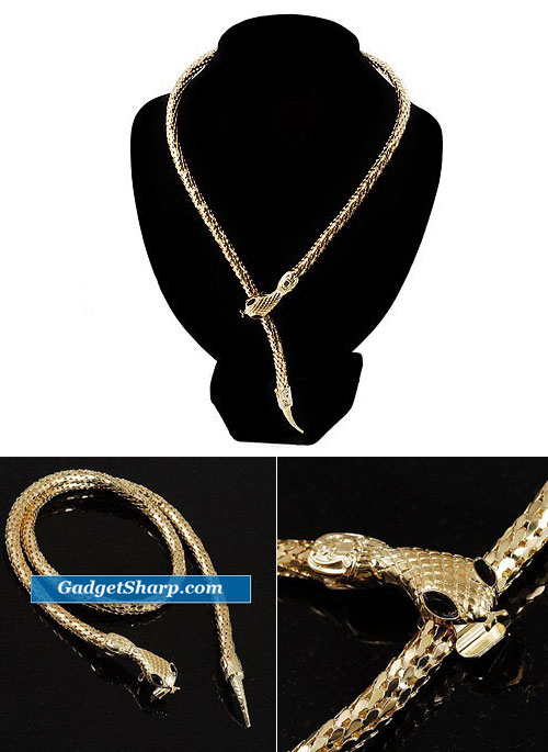 Mesmerizing Gold Tone Snake Choker Necklace