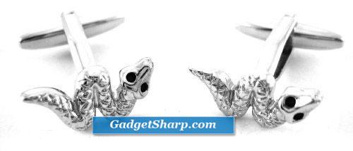 Silver Slithering Snake Cufflinks