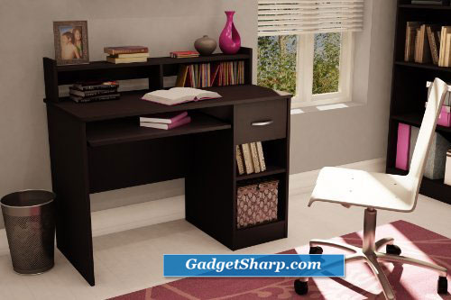 Chocolate Finish Compact Computer Desk