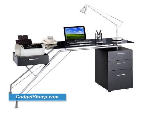 Glass Computer Desk with Storage