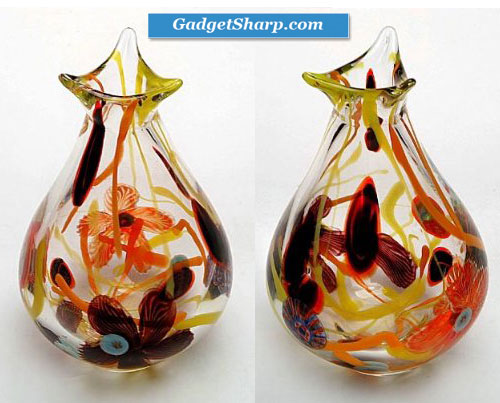 Hand Blown Floral Sommerso Art Glass Vase