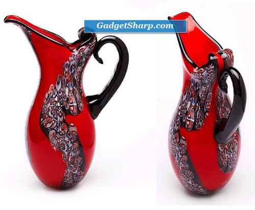 Hand Blown Red Art Glass Pitcher Vase