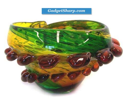 Art Glass Vase Tray Bowl Sea Shell