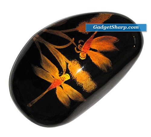 Dragonfly Paperweight Painting Lacquer River Stone