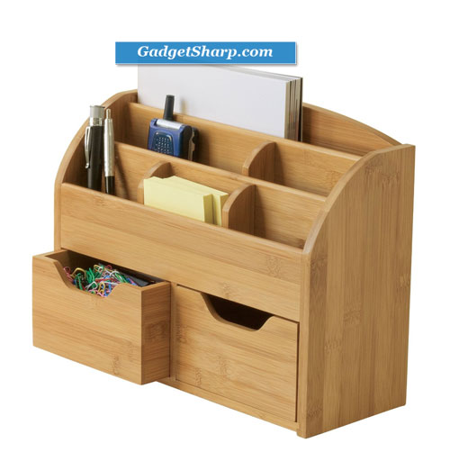 Lipper International Bamboo Space Saving Desk Organizer
