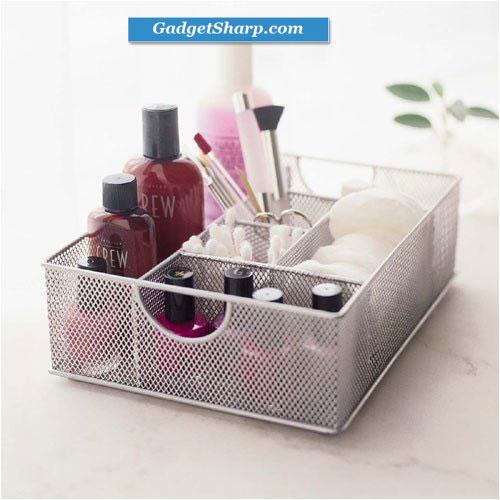 Silver Mesh Vanity Organizer by Design Ideas