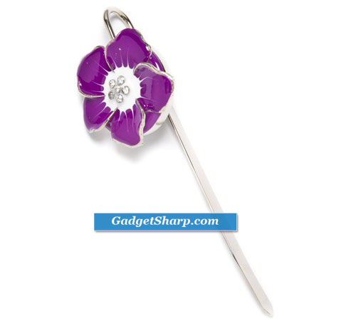 Purple Painted Metal Crystal Flower Bookmark