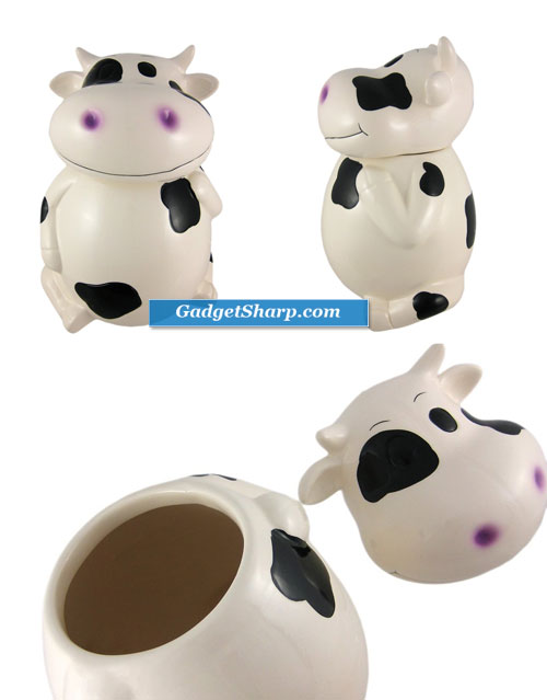 Incredibly Cute Black / White Cow Ceramic Cookie Jar