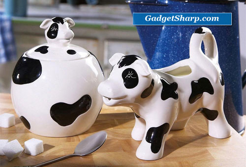 Black & White Cow Ceramic Cream And Sugar Bowl Set