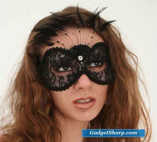 Black Lace Feather Mask Mardi Gras