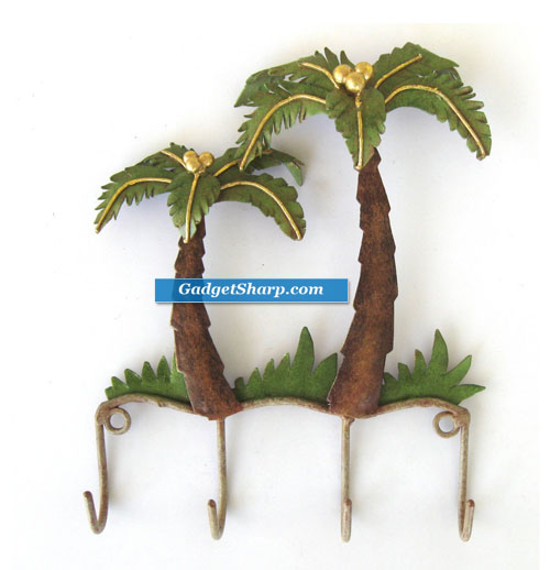 Hanging Hooks Key Rack Palm Tree