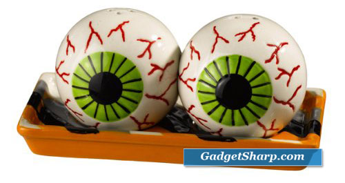 Grasslands Road Monster Mash Eyeball Magnetic Salt and Pepper Set with Striped Tray
