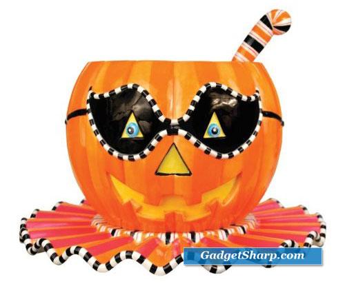 Halloween Pumpkin Punch Bowl, Tray & Ladle, 3-piece Set