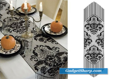 Halloween Damask 15-Inch by 68-Inch Runner