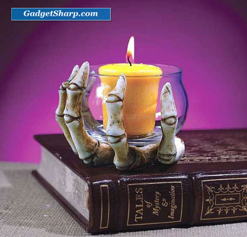 Skeleton Hand W/Glass Votive