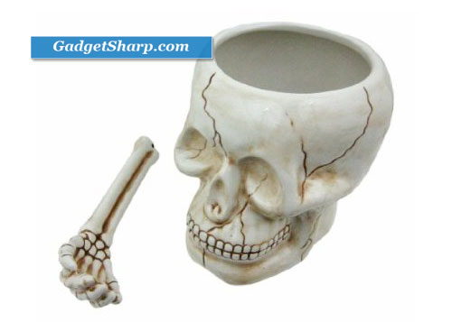 Cool Ceramic Skull Bowl W/ Bone Spoon