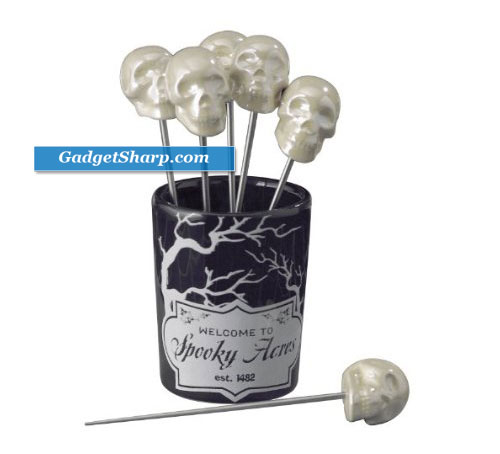 Ghoulish Glamour Skull Toothpicks with Holder