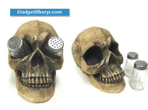 Creepy Human Skull Salt & Pepper Shaker Set