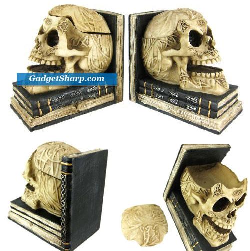 Celtic Knotwork Human Skull Bookends Stash Boxes